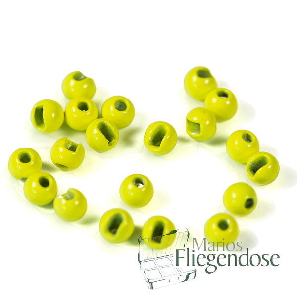 Tungsten Slotted Beads Fluo Yellow 3,8mm