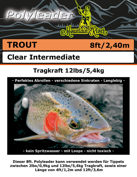 Polyleader Trout 8ft (2,4m) Clear Intermediate (3,8cm/sec)